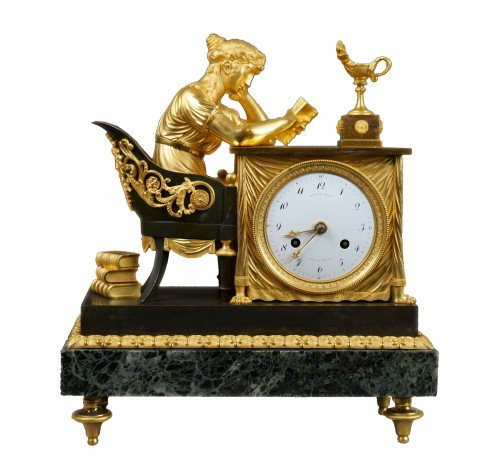 "Empire period clock ""La Liseuse"" Gilt Bronze"
