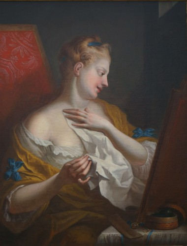 Ignaz Stern (1679-1748) - Woman at Toilet Portrait - Paintings & Drawings Style Louis XIV