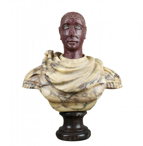 18th century polychrome marble and porphyry Roman emperor bust
