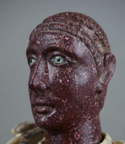 18th century polychrome marble and porphyry Roman emperor bust - Sculpture Style Louis XVI