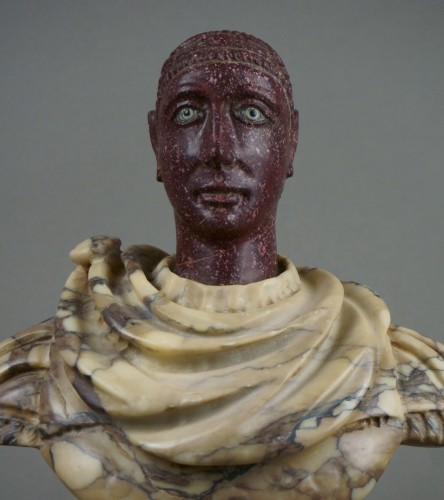 Sculpture  - 18th century polychrome marble and porphyry Roman emperor bust