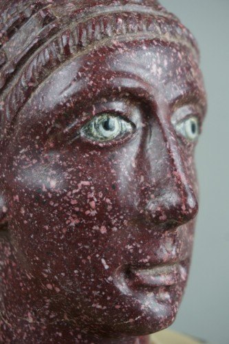 18th century polychrome marble and porphyry Roman emperor bust -