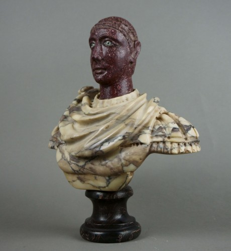 18th century - 18th century polychrome marble and porphyry Roman emperor bust