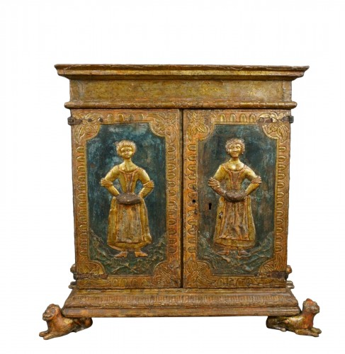 Venetian Cabinet In Lacquer, Gold And Hard Stone, Late 16th Early 17th