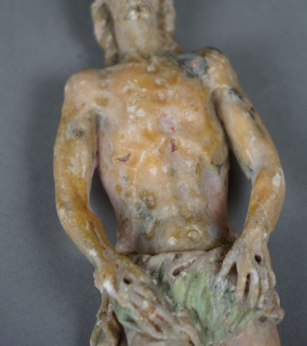Louis XIV - Dead Christ Polychrome alabaster Sicilian Baroque school