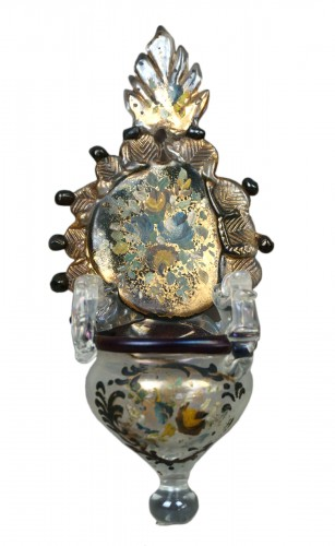 Holy water stoup in golden Murano glass and polychrome Venice 18 century