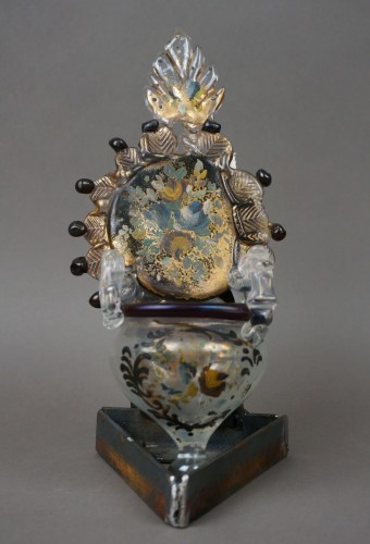 Holy water stoup in golden Murano glass and polychrome Venice 18 century - Religious Antiques Style