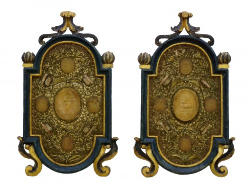 Large Baroque Reliquaries Frame with Relics and Agnus Dei in Wax