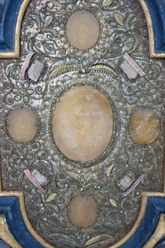 Religious Antiques  - Large Baroque Reliquaries Frame with Relics and Agnus Dei in Wax