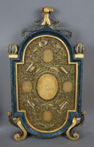 Large Baroque Reliquaries Frame with Relics and Agnus Dei in Wax - Louis XIV