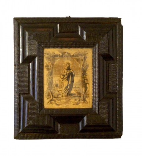 17th Italy Silk Engraving in Guilloche Molded Frame