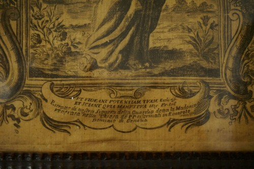 17th century - 17th Italy Silk Engraving in Guilloche Molded Frame