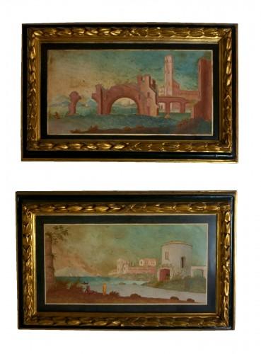18th century Pair 0f Scagliola Panels