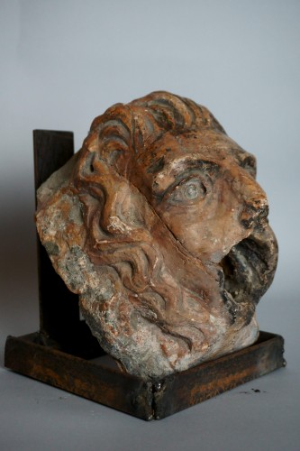 Sculpture  - 16th Renaissance Red Marble Grotesque Mask