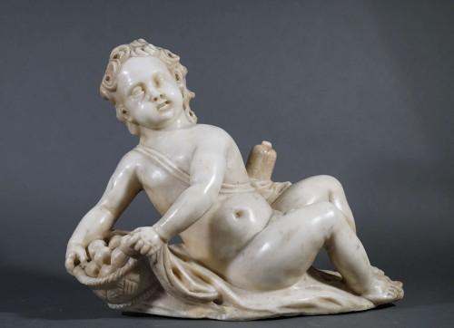 17th century - 17th Italian Baroque Putto Marble Sculpture