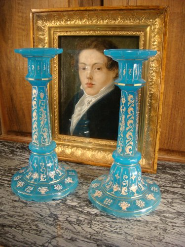 Glass & Crystal  - Pair of Charles X opaline candlesticks