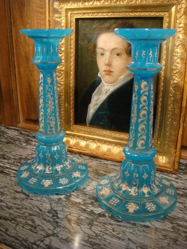 Pair of Charles X opaline candlesticks -