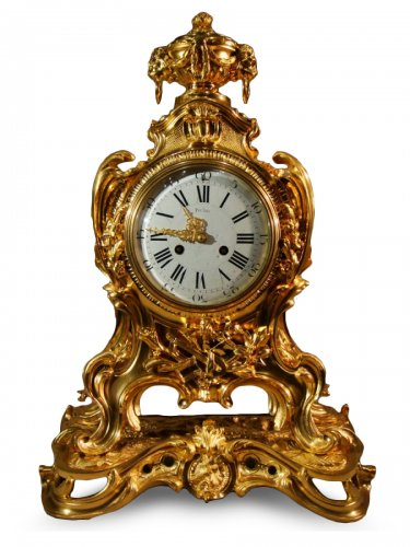 Grand Cartel Pendule en bronze doré