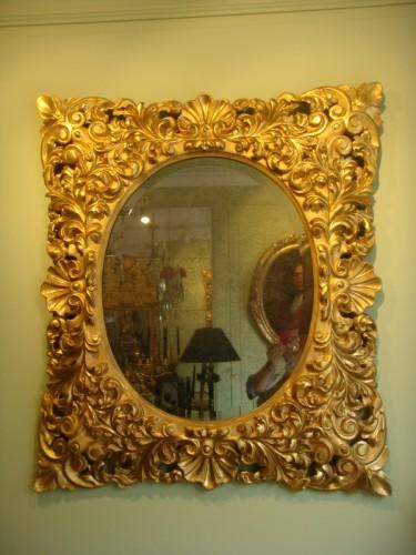 Large Giltwood Baroque mirror  - Mirrors, Trumeau Style Napoléon III