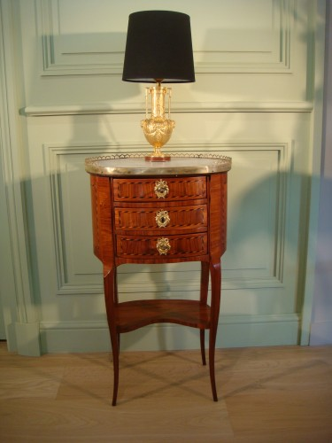 Petite table tambour en marqueterie - Epoque Transition XVIIIe - Mobilier Style Transition