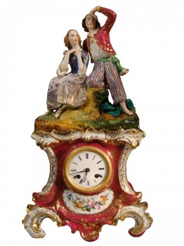 Paul et Virginie pendule en porcelaine de Paris - Epoque XIXe