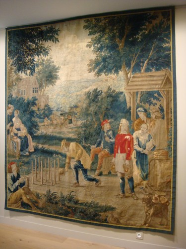 """18th century - Tapestry """"Game of skittles"""" Flanders Brussels - Period early 18th century"""