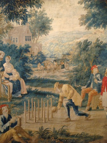 """Tapestry """"Game of skittles"""" Flanders Brussels - Period early 18th century - Louis XV"""