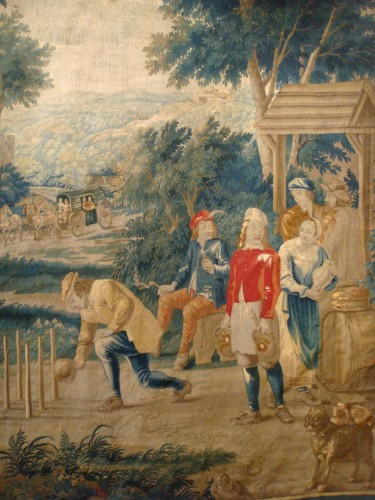 """Louis XV - Tapestry """"Game of skittles"""" Flanders Brussels - Period early 18th century"""