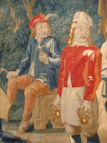 """Antiquités - Tapestry """"Game of skittles"""" Flanders Brussels - Period early 18th century"""