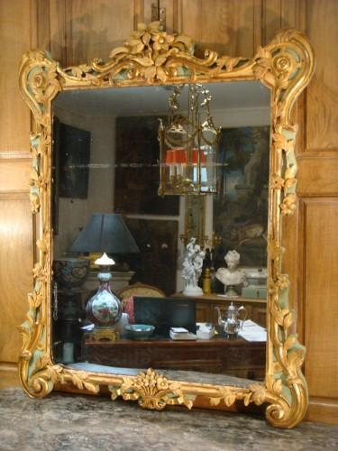 Large woodwork mirror - Louis XV period - Mirrors, Trumeau Style Louis XV