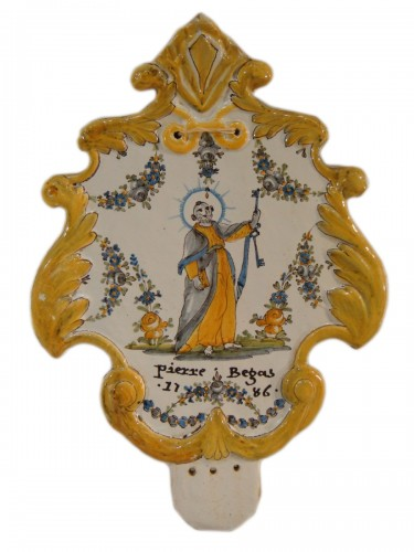 Large Nevers Patronymic Stoup Plate - 18th century