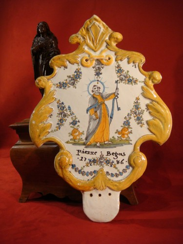 Large Nevers Patronymic Stoup Plate - 18th century -