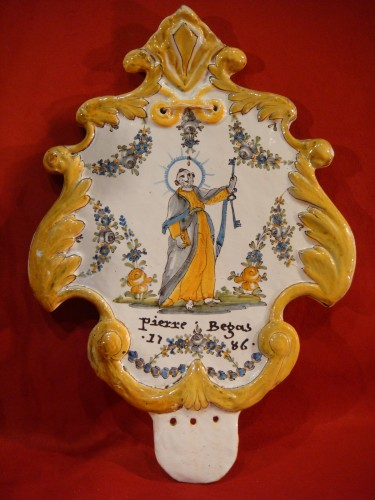 18th century - Large Nevers Patronymic Stoup Plate - 18th century