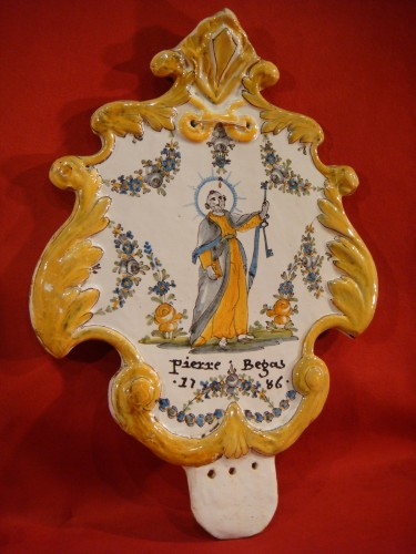 Large Nevers Patronymic Stoup Plate - 18th century - Louis XV