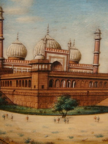 Antiquités - Miniature representing Jama Masjid in Delhi
