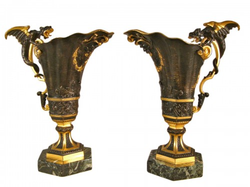 Pair of Hanaps with winged dragons in bronze