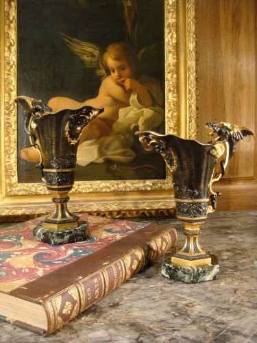 Pair of Hanaps with winged dragons in bronze - Decorative Objects Style Napoléon III