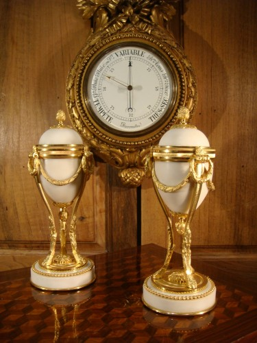 Pair of white marble and gilt bronze cassolettes - Decorative Objects Style Napoléon III