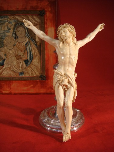 Large Christ in Ivory - Dieppe early 19th century - Religious Antiques Style Empire