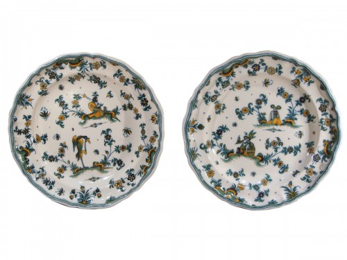 Pair of large Moustiers earthenware plates 18th century