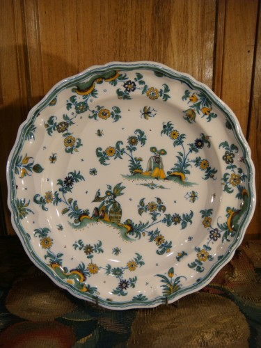 Pair of large Moustiers earthenware plates 18th century -