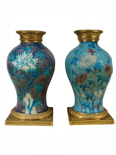 Two glazed stoneware baluster vases - Ming period