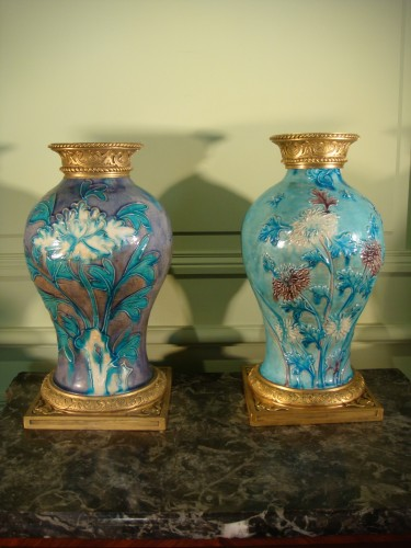 Two glazed stoneware baluster vases - Ming period - Porcelain & Faience Style