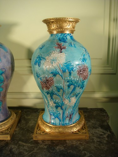 Porcelain & Faience  - Two glazed stoneware baluster vases - Ming period
