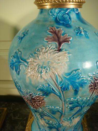 Two glazed stoneware baluster vases - Ming period -