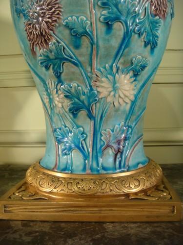 17th century - Two glazed stoneware baluster vases - Ming period