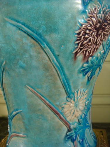- Two glazed stoneware baluster vases - Ming period