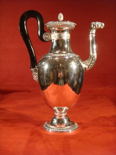Goldsmith Bompart - Large silver coffee pot - Antique Silver Style Restauration - Charles X