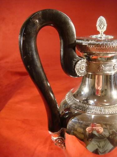 Antiquités - Goldsmith Bompart - Large silver coffee pot