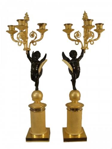 Pair of winged angel candelabras - Restoration Period